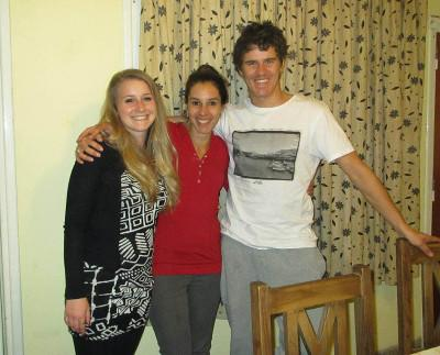 Volunteer with her host family in Argentina