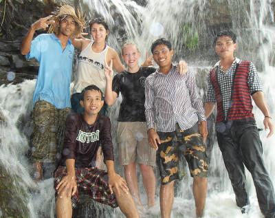 Volunteers at waterfall