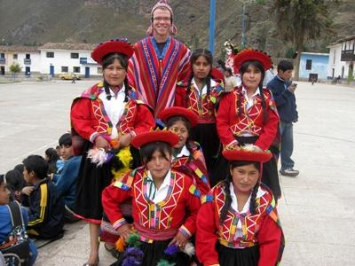 In traditional dress with some of the kids