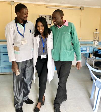 Piriyanga with the other dental staff in Kenya
