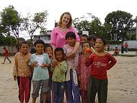 With local children