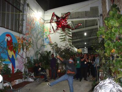 Hitting a pinata in Mexico