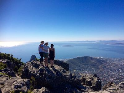 Rebecca and fellow volunteers admiring the view of Cape Town