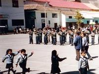 School band in the central plaza