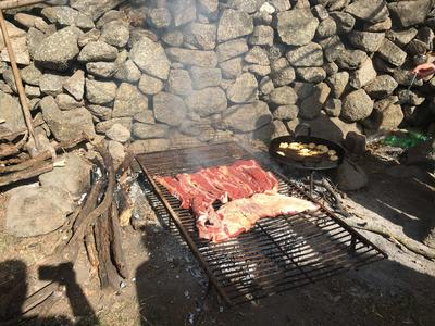 Meat being cooked for an asado lunch in Argentina