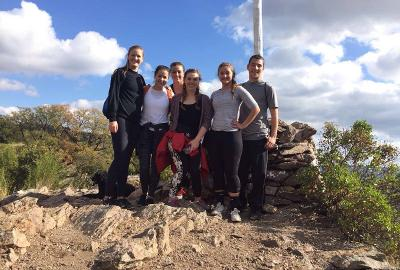 Hiking with other volunteers