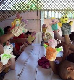 Doing crafts with the children