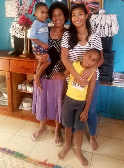 With a host family in Fiji