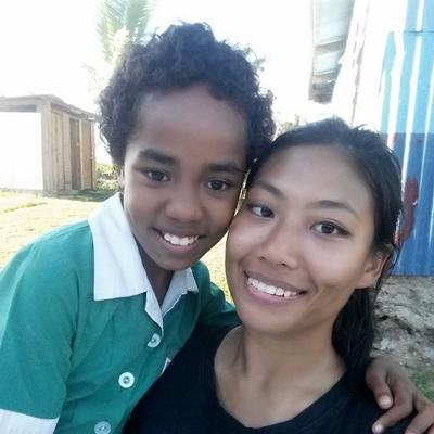 With a young girl in Fiji