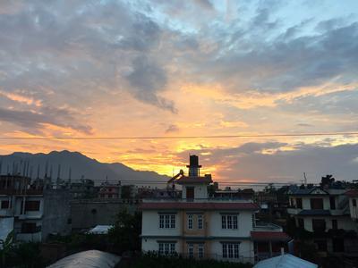 A beautiful view of the sunset over Kathmandu