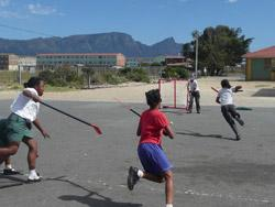 Kids playing hockey