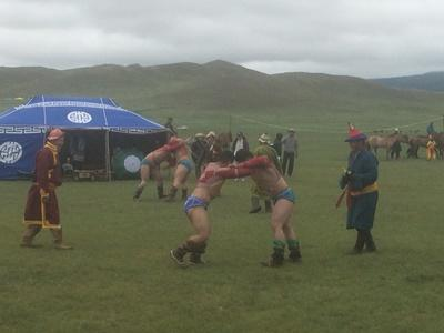 Traditional Mongolian wrestling in Ulaanbaatar