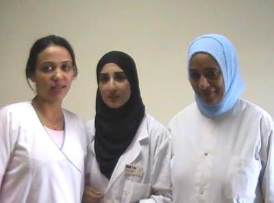 Volunteer works with local nurses in a clinic in Morocco
