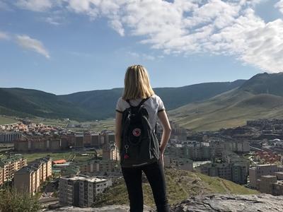 Sophia overlooking the city in Mongolia