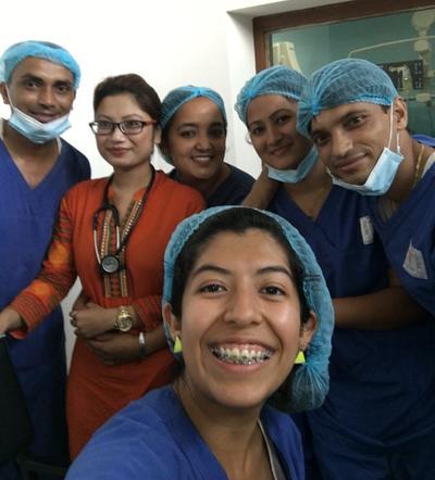 Volunteer with fellow nurses in Nepal