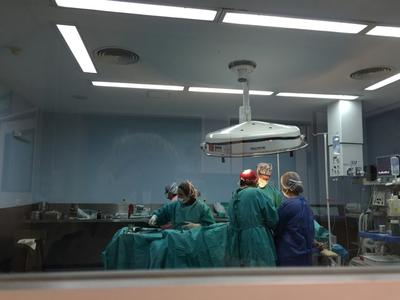 Volunteers watching a surgery from the observation room