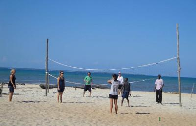 Volunteer's playing beach volley ball in Tanzania