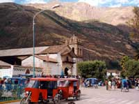 Moto taxis Plaza in Calca day of fiesta