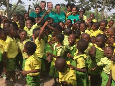 Public Health volunteers working with children in Ghana