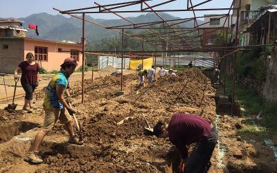 Volunteers building a school in Nepal