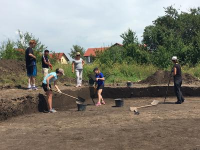 Archaeology volunteers working on an excavation