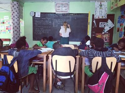 Teaching a class at a primary school in Fiji
