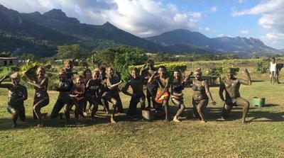 Volunteers visit the mud baths in Fiji