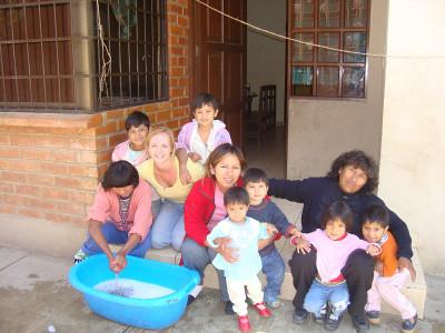 With local staff and kids