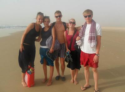 Beach walk with fellow volunteers