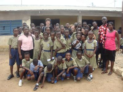 With local school children