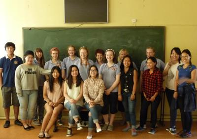 Volunteers and secondary school students in Mongolia