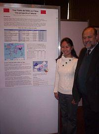 My supervisor and I with a poster we made about AIDS in China...it's all in Spanish!