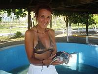 Holding a turtle