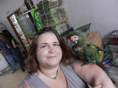 Jessica dans sa structure d'accueil en projet soins animaliers au Mexique