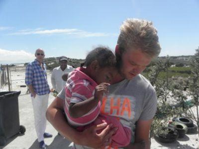 Niels sur le lieu du projet construction en Afrique du Sud