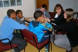 Tijdens de workshop over Human Trafficking